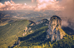 Amazing Panorama view in Ceahlau mountains in Romania. Amazing view in the mountains of Romania Ceahlau Mountain at high altitude Royalty Free Stock Images