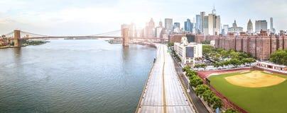 Amazing panorama view of New York city and Brooklyn bridge stock photo