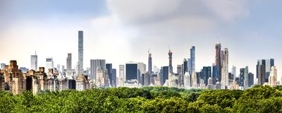 Amazing panorama view of New York city skyline and Central Park stock photos