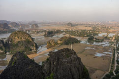 Amazing panorama view of the rice fields, limestone rocks and mo Stock Image