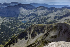 Amazing Panorama from Vihren peak to Banderishko Fish lake, Pirin Mountain Royalty Free Stock Photography