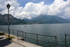 Amazing panorama with white clouds of Bellagio town on Lake Como, Italy Stock Photo