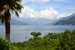 Amazing panorama with white clouds of Bellagio town on Lake Como, Italy Stock Photography