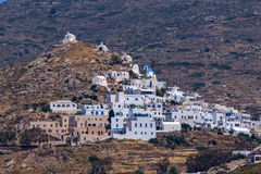 Amazing Panorama of white houses in Ios Town, Greece Royalty Free Stock Photo