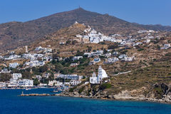 Amazing Panorama of white houses in Ios Town, Greece Stock Photography