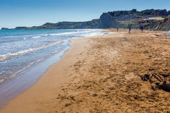 Amazing panorama of Xi Beach,beach with red sand in Kefalonia,  Greece Stock Photo