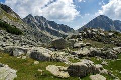 Amazing panorama of the Yalovarnika peaks in Pirin Mountain Stock Photography