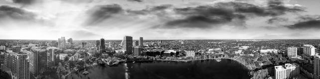 Amazing panoramic aerial view of Orlando skyline at dusk, Florid royalty free stock photo
