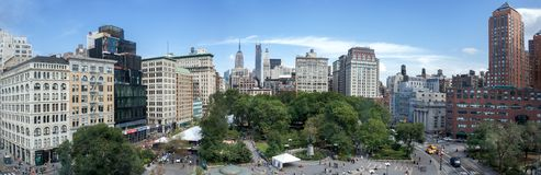 Amazing panoramic aerial view of Union Square at New York City. USA royalty free stock photography