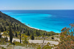Amazing Panoramic Seascape with blue waters at Lefkada, Greece Royalty Free Stock Image