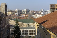 Amazing panoramic view of City of Haskovo - from Monument of Virgin Mary , Bulgaria Stock Image