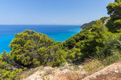 Amazing Panoramic view of Kokkinos Vrachos Beach with blue waters, Lefkada, Greece Royalty Free Stock Photo