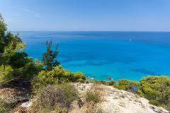 Amazing Panoramic view of Kokkinos Vrachos Beach with blue waters, Lefkada, Greece Royalty Free Stock Images