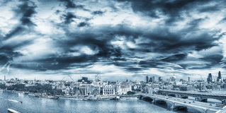 Amazing panoramic view of London at sunset, United Kingdom.  Royalty Free Stock Images