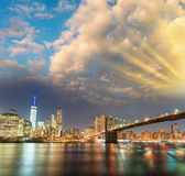 Amazing panoramic view of Lower Manhattan at sunset from Brookly Stock Photo