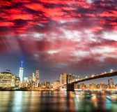 Amazing panoramic view of Lower Manhattan at sunset from Brookly Stock Photography