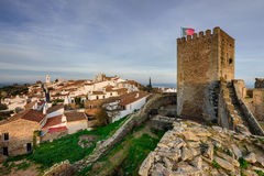Amazing panoramic view of Monsaraz at sunset. The medieval village of Monsaraz is a tourist attraction in the Alentejo, Portugal. From the walls of his castle we Royalty Free Stock Photography