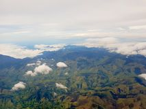 Amazing panoramic view of the mountains in antioquia, Colombia, green landscape with some clouds. And farms stock photo