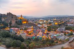 Narikala and Old town at sunset, Tbilisi, Georgia Royalty Free Stock Photos