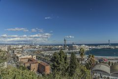 Amazing panoramic view of the port and part of the city of Barcelona stock image