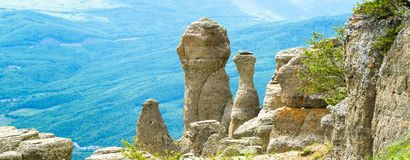 Amazing panoramic view of rock formations in Crimea Stock Image