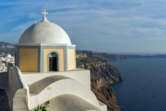 Amazing Panoramic view of Santorini island and old church, Greece. Amazing Panoramic view of Santorini island and old church, Thira, Cyclades, Greece Stock Images