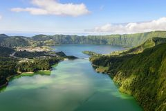 Amazing panoramic view of Sete Cidades lake in Azores island. Amazing Azorean landscape. Panoramic view of the lake of Sete Cidades, Azores, Portugal. Viewpoint Royalty Free Stock Image