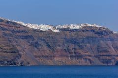Amazing Panoramic view to bay of Sanorini island, Thira, Greece Royalty Free Stock Photography