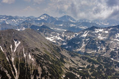 Amazing panoramic view to Pirin Mountain from Vihren Peak Royalty Free Stock Photo