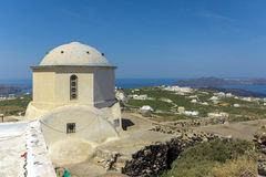 Amazing panoramic view to Santorini island ad white church,  Thira, Greece Stock Photography