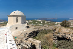 Amazing panoramic view to Santorini island and white church, Cyclades Stock Photo