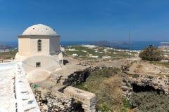 Amazing panoramic view to Santorini island and white church, Cyclades. Amazing panoramic view to Santorini island and white church, Thira, Cyclades, Greece Stock Photo