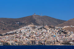 Amazing Panoramic view to town of Ermopoli, Syros, Greece Royalty Free Stock Image