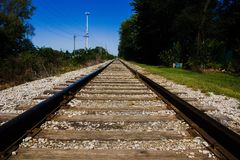 Amazing parallel railroad in medwest USA royalty free stock photo