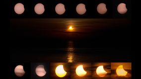 Amazing Partial solar eclipse in WeiHai China royalty free stock photo
