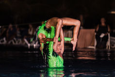 Amazing performance of hotel entertainment team at night spectacular water show Stock Images