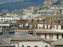 An amazing photography of some public housing. In Genova built in the 60s over hills of the city royalty free stock images