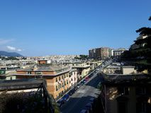An amazing photography of some public housing. In Genova built in the 60s over hills of the city stock photos