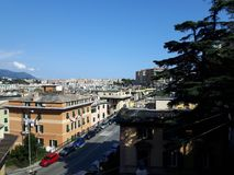 An amazing photography of some public housing. In Genova built in the 60s over hills of the city royalty free stock photos