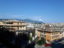 An amazing photography of some public housing. In Genova built in the 60s over hills of the city royalty free stock photography