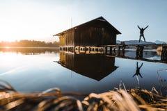 Fisherman hut in the Allgäu royalty free stock photography