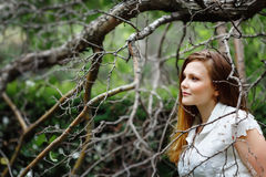Amazing Portrait of Beautiful Woman in Forest Royalty Free Stock Photography