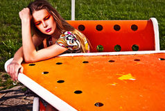Amazing portrait of beautiful young woman posing outdoor. Photo Royalty Free Stock Images