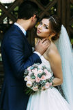 Amazing portrait of the couple in the wedding day Stock Images