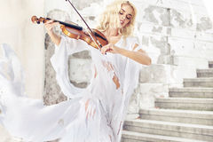 Amazing portrait of the female musician Royalty Free Stock Images