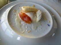 Amazing Portugese gourmet dessert food and wine stock image