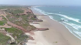 Amazing Portuguese coast beach ocean aerial 4k stock video