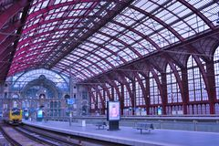 The amazing post-industrial station building in Antwerp Royalty Free Stock Photography