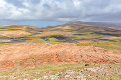 Amazing post-volcanic landscape of Lanzarote island Stock Photos