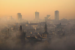 Amazing Prague foggy sunrise, Czech republic Stock Images